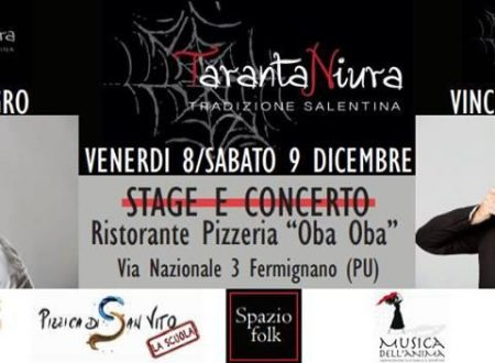 Scuola di Pizzica, Stage e Concerto 8 e 9 dicembre 2017
